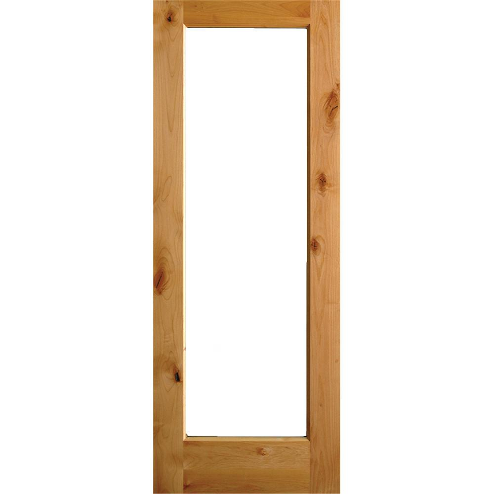 Rustic Alder Full Lite Clear Low E Glass Unfinished Wood Left Hand Inswing  Exterior Prehung Front Door