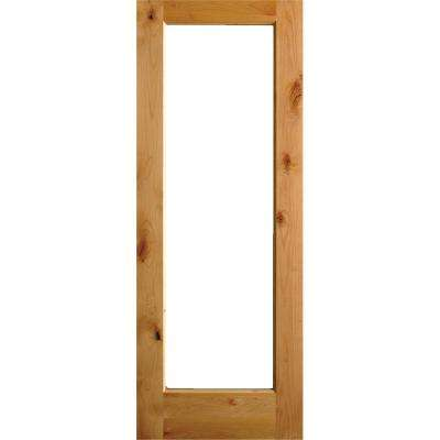 36 in. x 80 in. Rustic Knotty Alder Full-Lite Clear Low-E Unfinished Wood Right-Hand Inswing Exterior Prehung Front Door