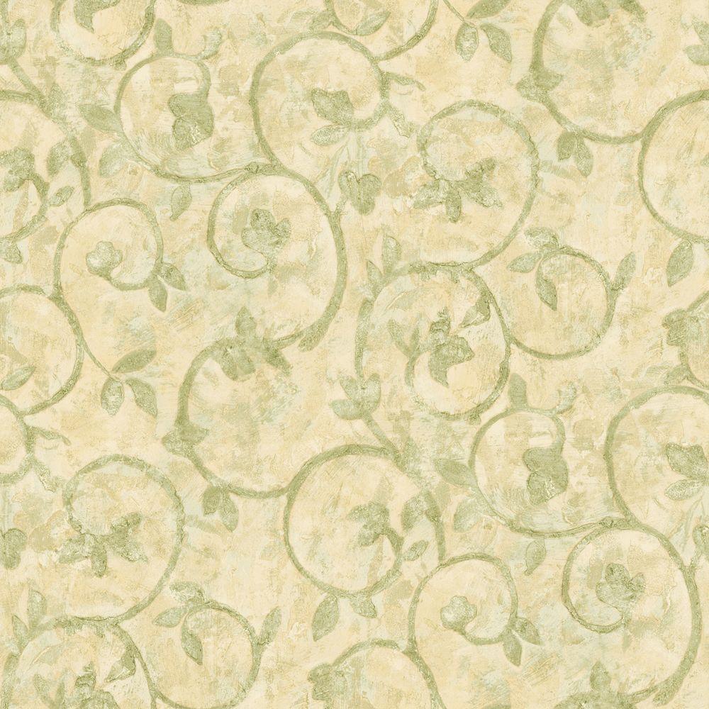 The Wallpaper Company 56 sq. ft. Green Scroll Wallpaper