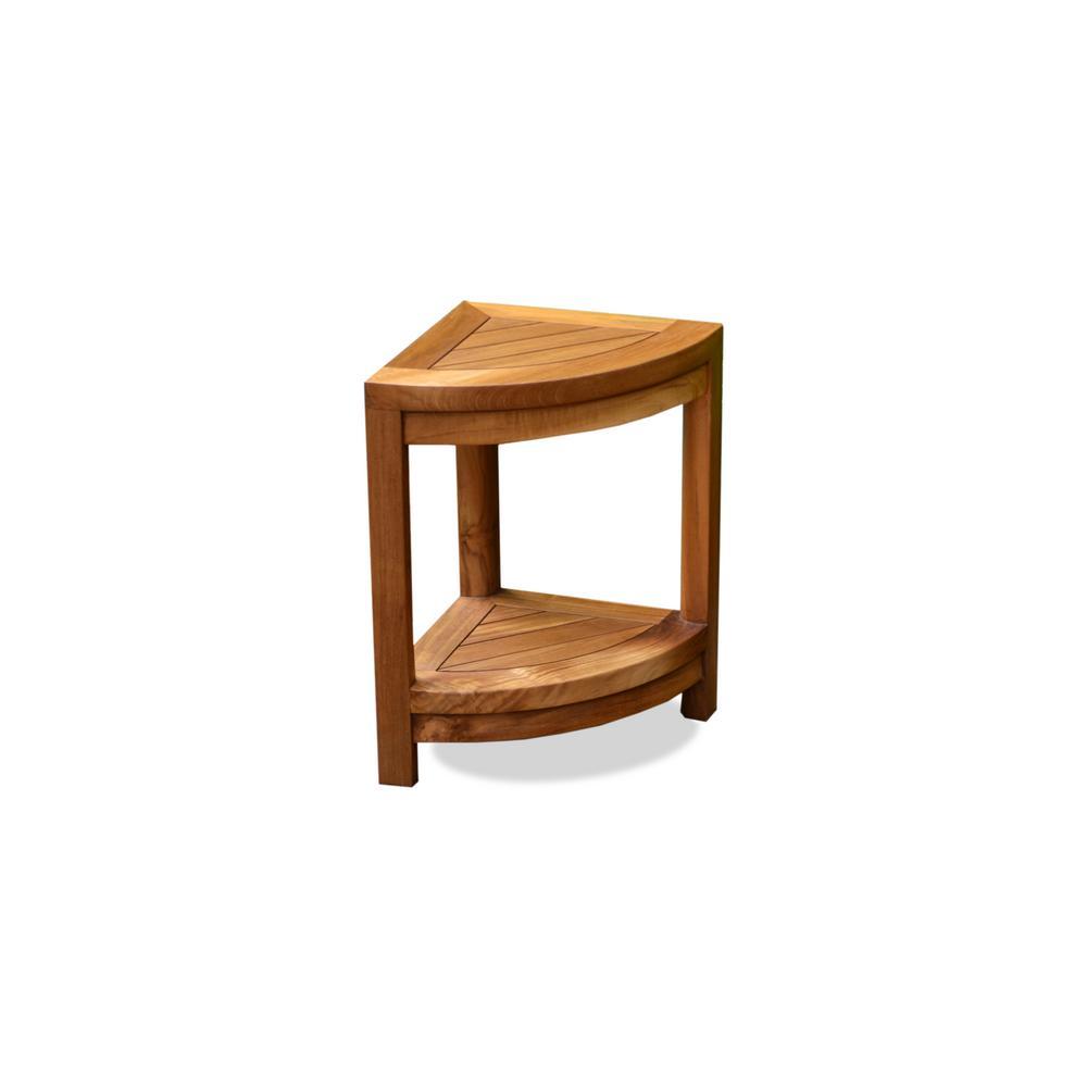 Teak 12 in. x 16.5 in. x 18 in. Wood Indoor and Outdoor Shower Stool/Shelf