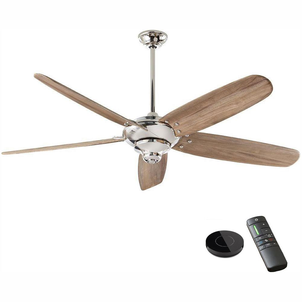 Home Decorators Collection Altura DC 68 in. Polished Nickel Ceiling Fan works with Google Assistant and Alexa