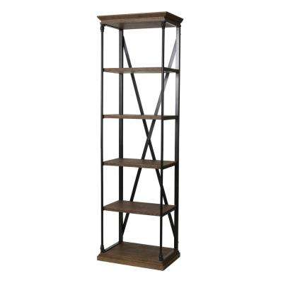 Brown 5-Tier Etagere Bookcase