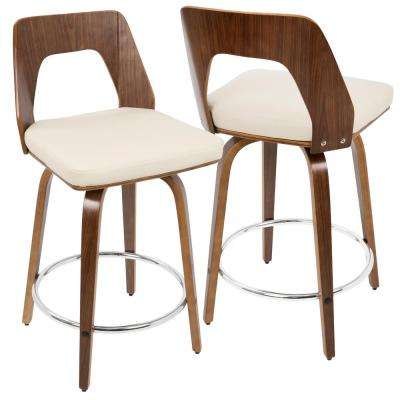 Trilogy Walnut and Cream Mid-Century Modern Counter Stool