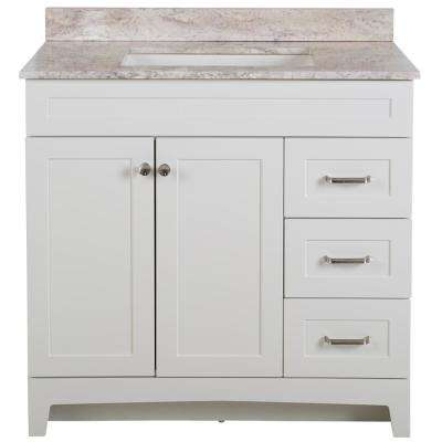 Thornbriar 37 in. W x 39 in. H Bathroom Vanity in White with Stone Effects Vanity Top in Winter Mist with White Sink