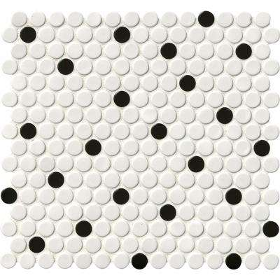 White and Black Glossy Penny Round 12 in. x 12 in. x 6mm Porcelain Mesh-Mounted Mosaic Tile (20 sq. ft. / case)