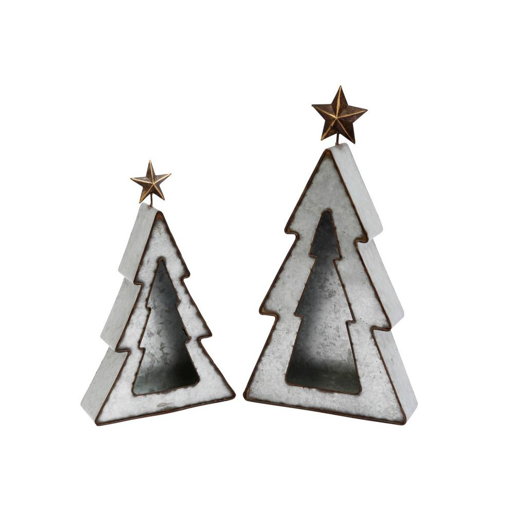 Christmas Tree Candle Holder.Gerson S 2 Metal Holiday Tree Candle Holders