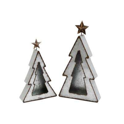 S/2 Metal Holiday Tree Candle Holders