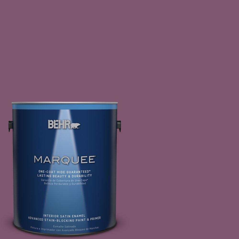 1 gal. #M110-7 Euphoric Magenta One-Coat Hide Satin Enamel Interior Paint