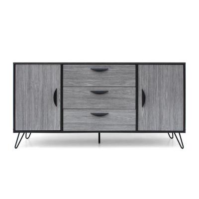 Two-Toned Gray Cabinet with 3 Drawers and 2 Doors