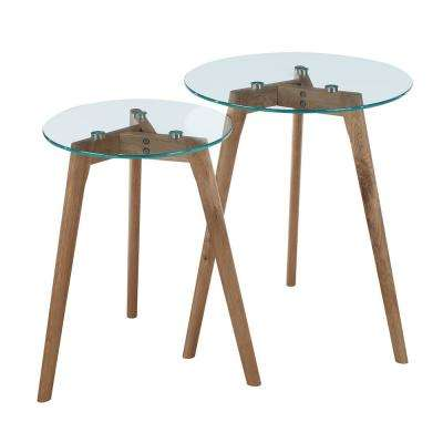 Clearview Natural Wood with Glass Nesting Round End Tables (Set of 2)