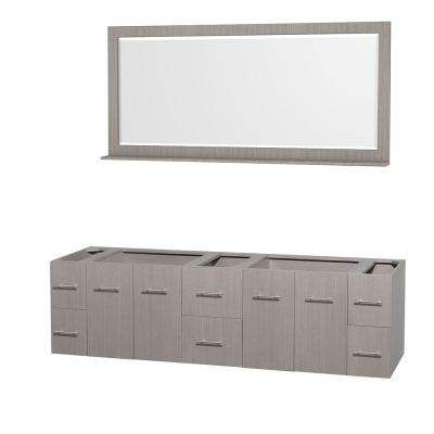 Centra 79 in. Double Vanity Cabinet with Mirror in Gray Oak