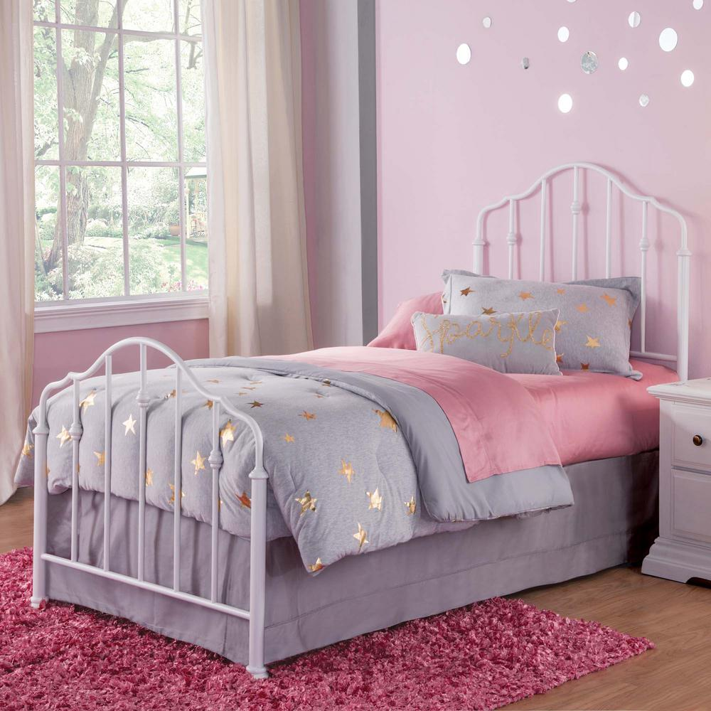 Fashion Bed Group Lorna Warm White Twin Kids Bed With Metal Duo