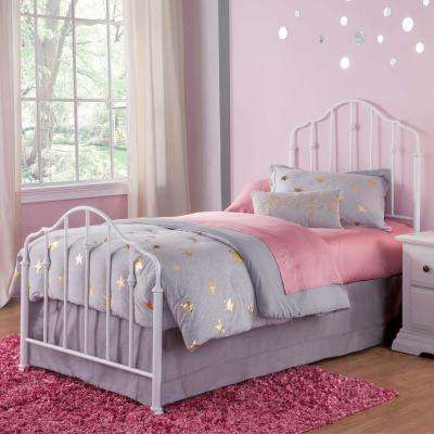 Lorna Warm White Twin Kids Bed with Metal Duo Panels and Accented Spindles