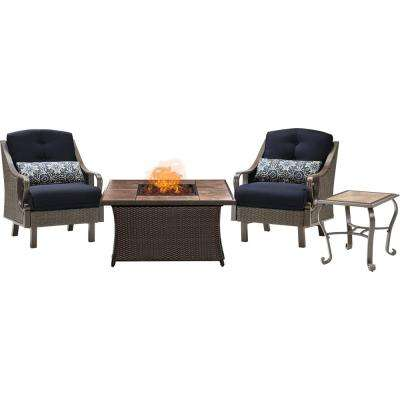Ventura 3-Piece Patio Seating Set with Tile-Top Fire Pit with Navy Blue Cushions