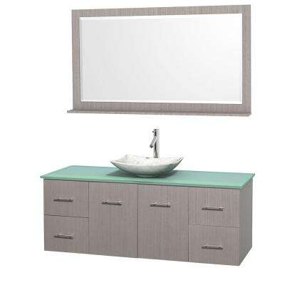 Centra 60 in. Vanity in Gray Oak with Glass Vanity Top in Green, Carrara White Marble Sink and 58 in. Mirror