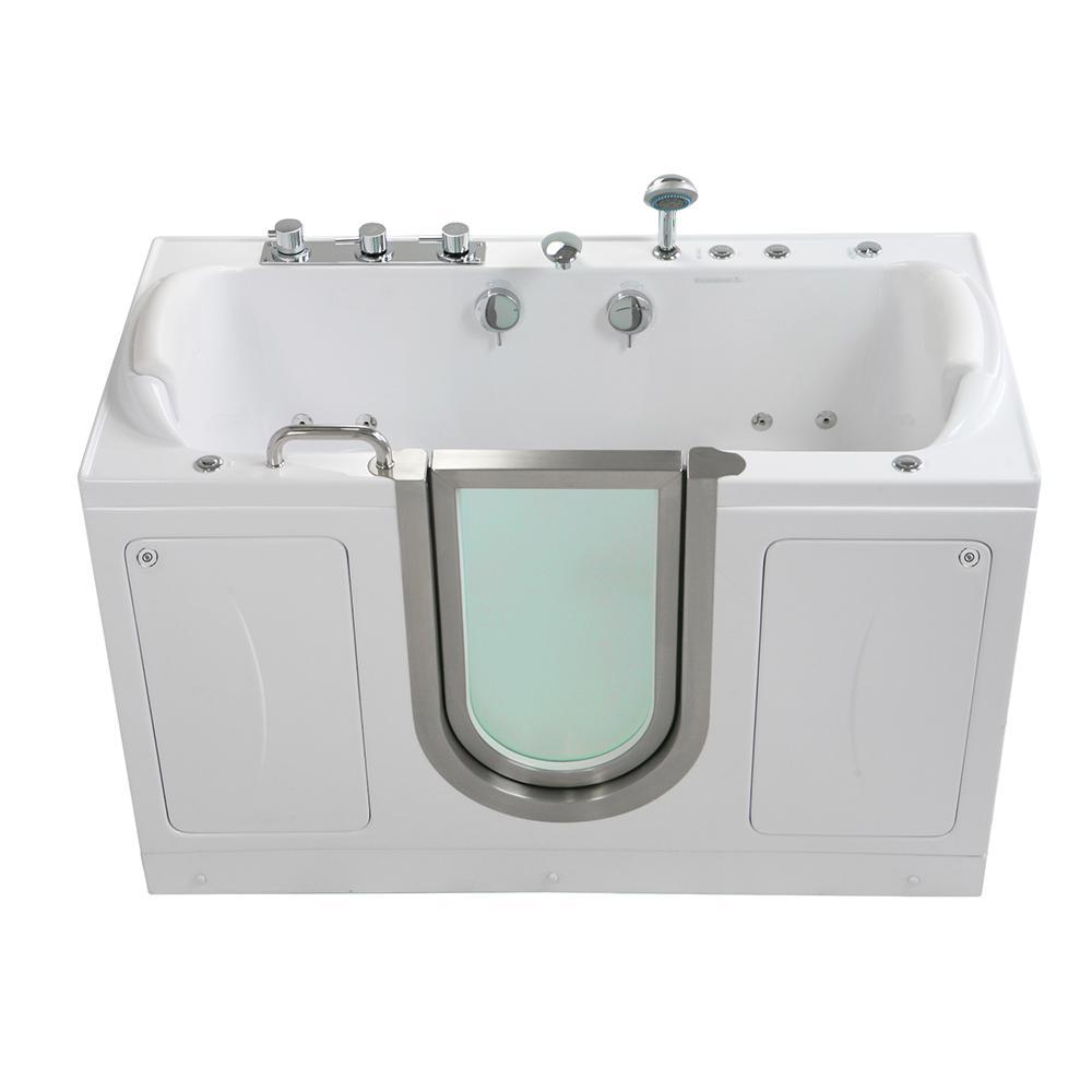 Ella Companion 2 Seat 60 in. Walk-In Whirlpool, MicroBubble and Air Bath Bathtub in White, Heated Seat with 2 in. Dual Drain