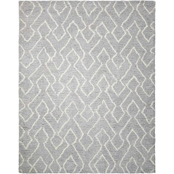 Nourison Galway Slate Ivory 8 Ft X 10 Ft Shag Contemporary Area Rug 225344 The Home Depot