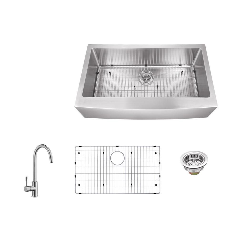 Apron Front 36 in. 16-Gauge Stainless Steel Single Bowl Kitchen Sink