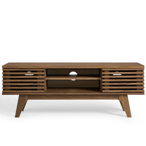 Render 47 in. Walnut Engineered Wood TV Stand Fits TVs Up to 50 in. with Storage Doors