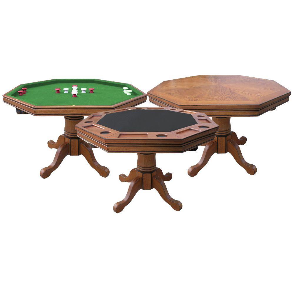 Kingston 3 In 1 Poker Table Dark Oak