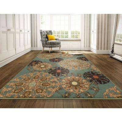 Ottohome Collection Contemporary Damask Design Sage Green 8 ft. x 10 ft. Area Rug