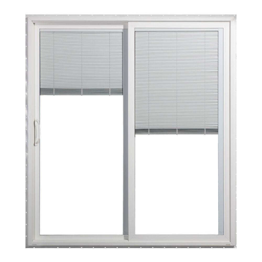 JELD-WEN 60 in. x 80 in. V-4500 Series White Left-Hand Vinyl Sliding Patio Door with LowE Tempered Tilt & Raise Blinds Glass