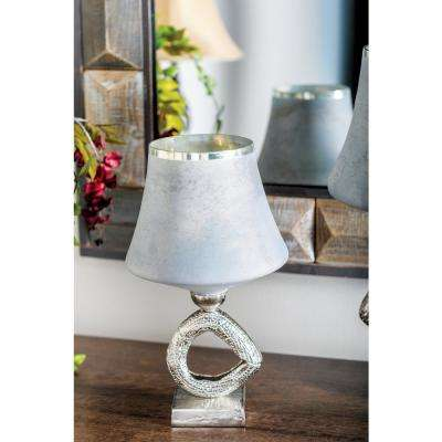 16 in. Gray Lamp-Style Glass Candle Holder with Silver Aluminum Base