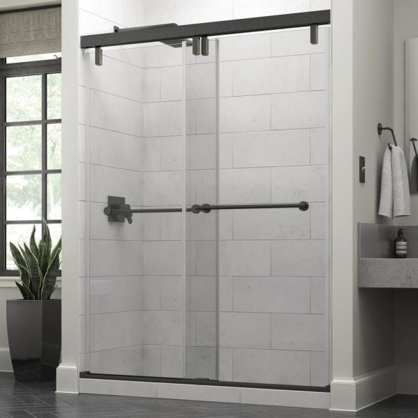 Everly 60 x 71-1/2 in. Frameless Mod Soft-Close Sliding Shower Door in Bronze with 3/8 in. (10mm) Clear Glass
