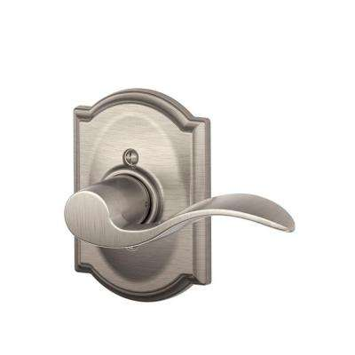 Accent Satin Nickel Right Handed Dummy Door Lever with Camelot Trim