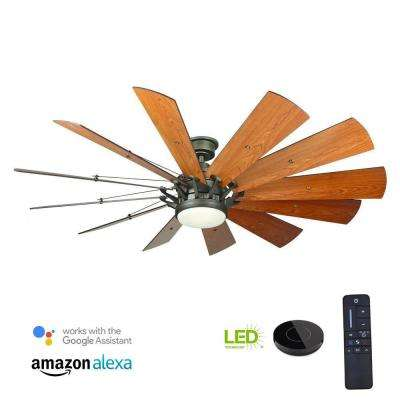 Trudeau 60 in. LED Indoor Espresso Bronze Ceiling Fan with Light Kit works with Google Assistant and Alexa