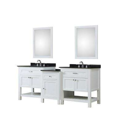 Preswick Hybrid Bath and Makeup 83 in. W Vanity in White with Granite Vanity Top in Black with White Basin and Mirrors