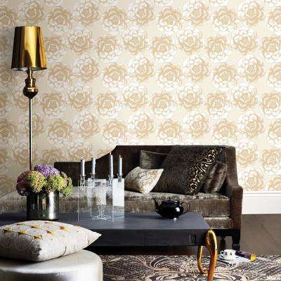 Fanciful Gold Floral Wallpaper Sample