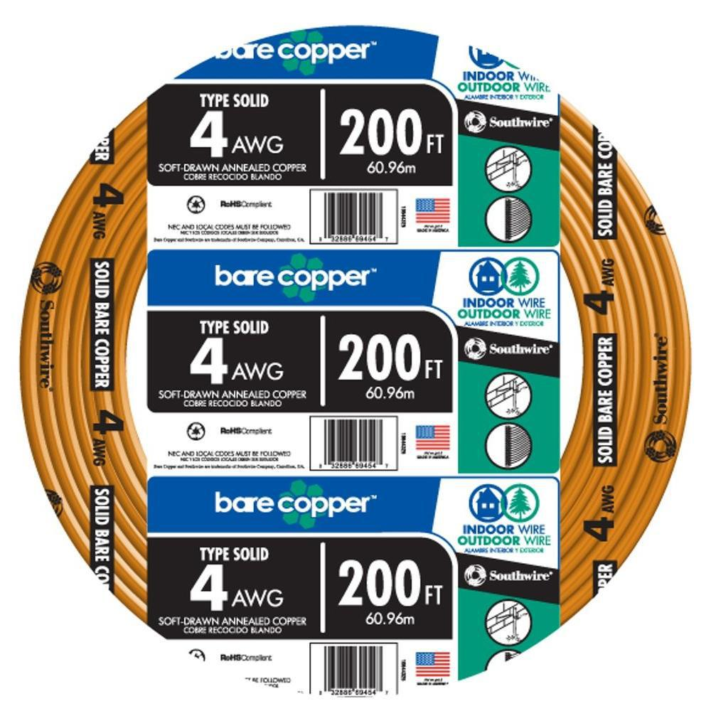Southwire 200 ft. 4-Gauge Solid SD Bare Copper Grounding Wire ...