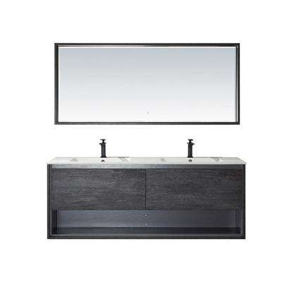 Perma 63 in. W x 21 in. D Bath Vanity in Elegant Grey with Vanity Top in White with White Acrylic Basin and Mirror