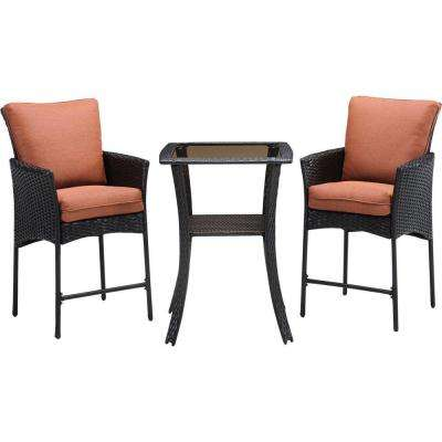 Strathmere Allure 3-Piece All-Weather Wicker Square Patio Bar Height Dining Set with Woodland Rust Cushions