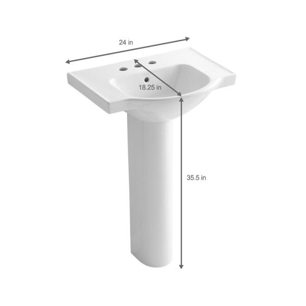 Kohler Veer 24 In Vitreous China Pedestal Combo Bathroom Sink In White With Overflow Drain K 5266 4 0 The Home Depot