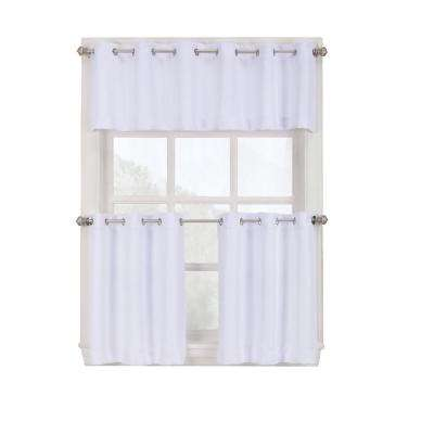 Semi-Opaque White Montego Grommet Kitchen Curtain Tiers, 56 in. W x 24 in. L