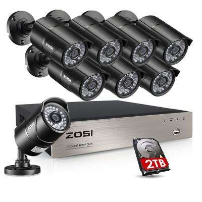 8-Channel 1080p 2TB DVR Security Camera System with 8 Wired Bullet Cameras