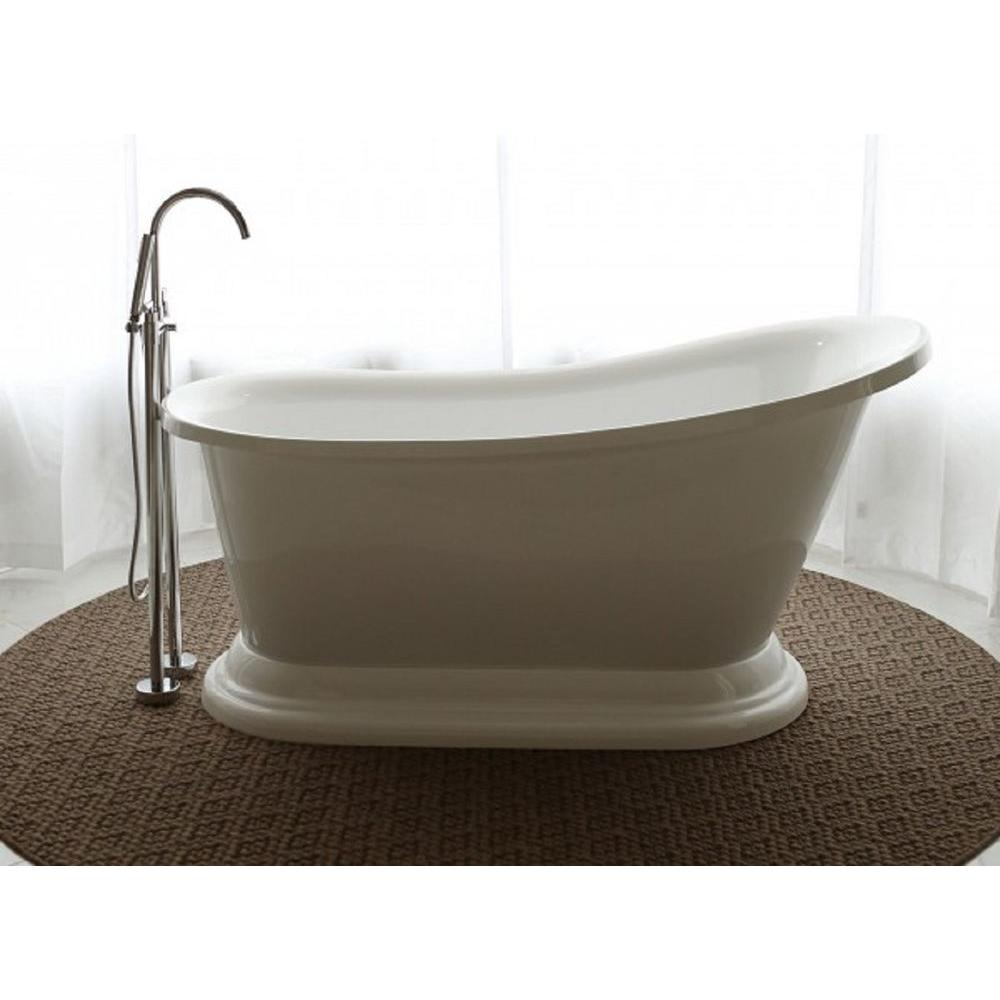 Beau Pinnacle Oasis 5.58 Ft. Acrylic Flat Bottom Free Standing Non Whirlpool Tub  Slipper