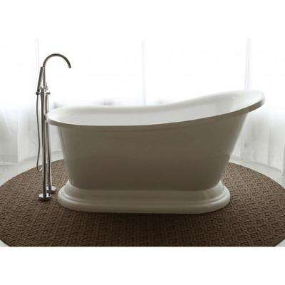 Oasis 5.58 ft. Acrylic Flat Bottom Free-Standing Non-Whirlpool Tub Slipper in White