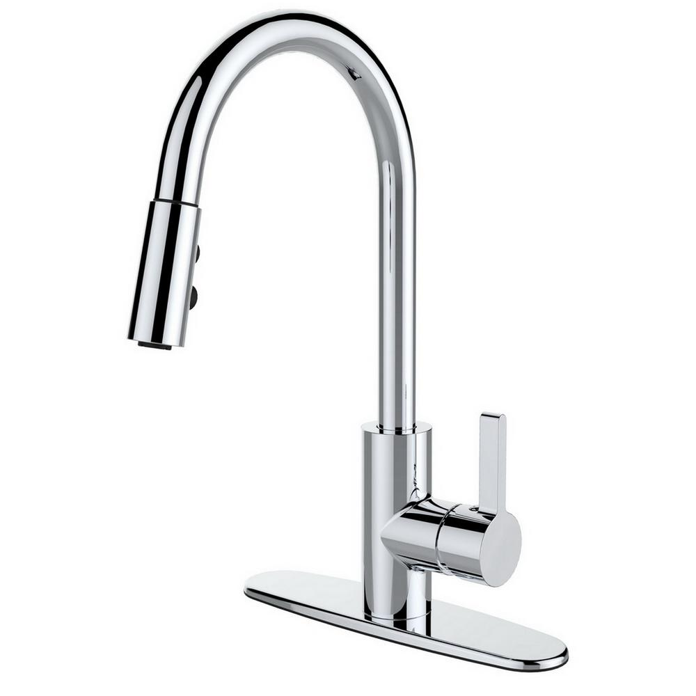 Runfine Single Handle Pull Down Sprayer Kitchen Faucet In Chrome