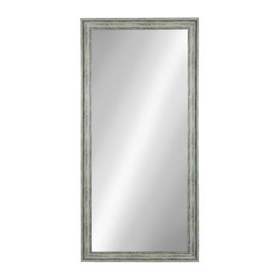 Oversized Rectangle Teal Beveled Glass Full-Length American Colonial Mirror (64.49 in. H x 28.5 in. W)