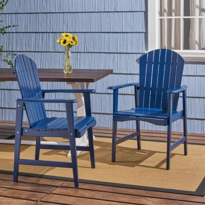 Malibu Navy Blue Solid Wood Outdoor Dining Chairs (2-Pack)