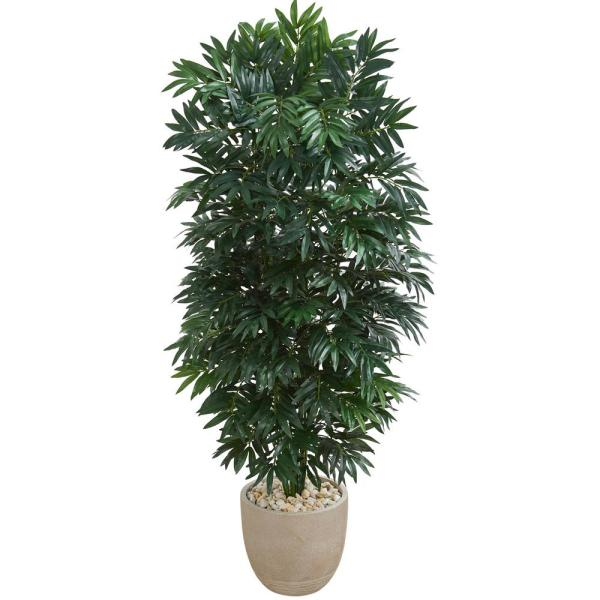 Indoor 5 ft. Double Bamboo Palm Artificial Plant in Sandstone Planter