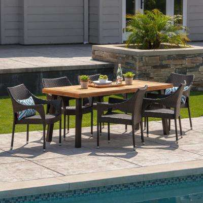 Brianna 7-Piece Wood and Wicker Outdoor Dining Set with Stacking Chairs