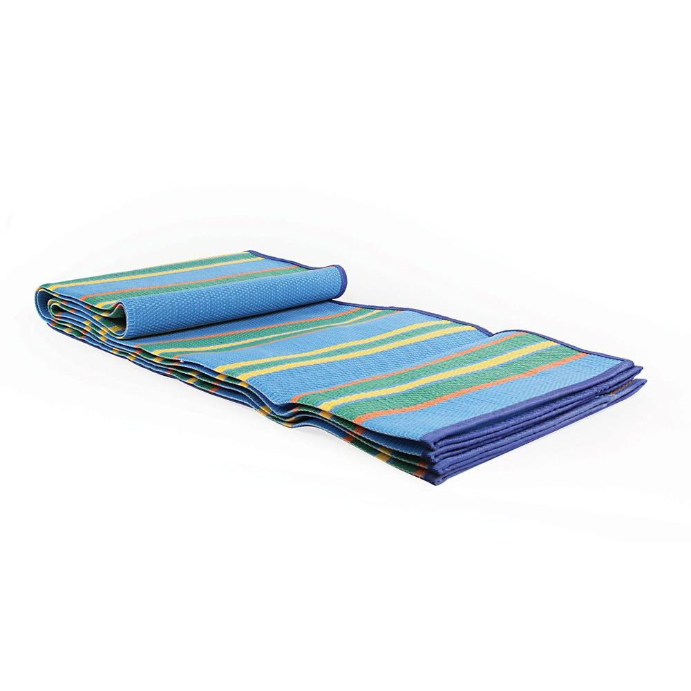 Camco 60 In X 78 In Handy Mat With Strap Blue Green Stripes 42805 The Home Depot