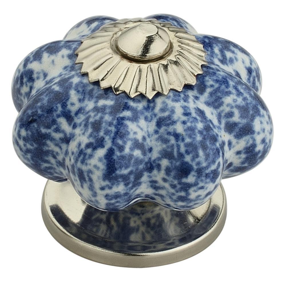 Mascot Hardware Blue Blossom On White 1-7/10 in. (43 mm ...