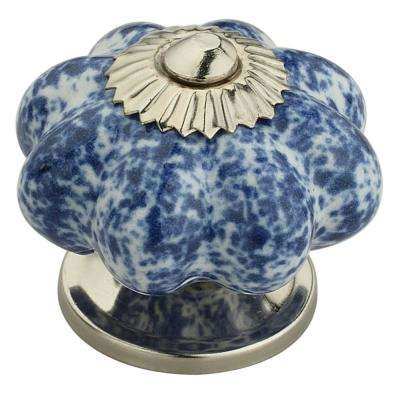 Blue Blossom On White 1-7/10 in. (43 mm) Blue and White Cabinet Knob