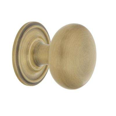 New York 1-3/8 in. Antique Brass Cabinet Knob with Classic Rose