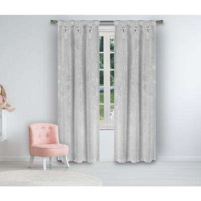 Solid Silver Polyester Blackout Grommet Window Curtain 25 in. W x 84 in. L (2-Pack)